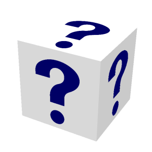 Image of a block with question marks on it.